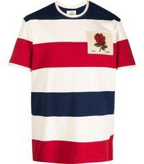 kent & curwen logo-patch horizontal-stripe t-shirt - neutrals