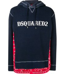 dsquared2 bandana layer hoodie - blue