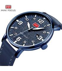 reloj para hombre/correa de piel/ mini focus 0158g ultra delgado-azul