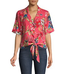 tie-front floral shirt