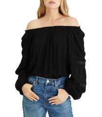 women's sanctuary say so lace inset convertible off the shoulder blouse, size medium - black