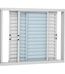 janela veneziana de correr sem grade aço - 3 folhas móveis - branco kompacta 100x120x11,3cm - 21324507 - sasazaki - sasazaki