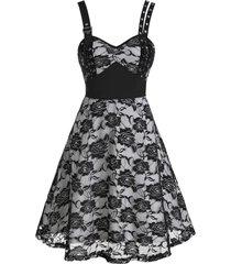 flower lace grommet empire waist dress