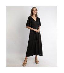 vestido feminino midi com manga curta ampla decote v preto