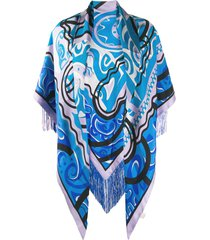 emilio pucci abstract print shawl - blue