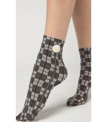 calzedonia women's opaque socks with pretty appliqué details woman black size tu