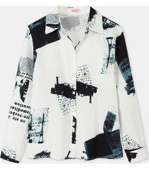 camicetta casual da donna a maniche lunghe con colletto a risvolto stampato con bottoni