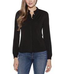 belldini black label mandarin collar button front blouse top