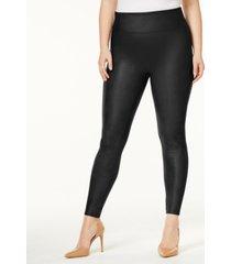 spanx women's plus faux-leather tummy control leggings