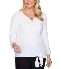 alfred dunner petite checkmate tie-front bubble gauze top