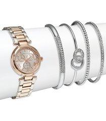 crystal stainless steel bracelet watch & bangle bracelet set