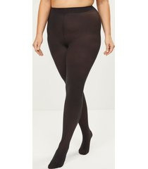 lane bryant women's opaque smoothing tights - sheer to waist g-h black