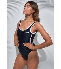 na-kd swimwear contrast edge logo swimsuit - black