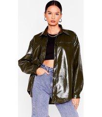 womens patent us a picture oversized shirt jacket - khaki
