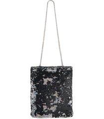 miu miu women's sequin chain shoulder bag - black silver