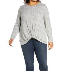 plus size women's bobeau scoop neck front twist top, size 3x - grey