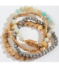 josephine beaded stretch bracelet set - mint
