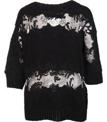 ermanno scervino black sweater with lace cutouts