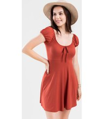 juniper puff sleeve mini dress - rust
