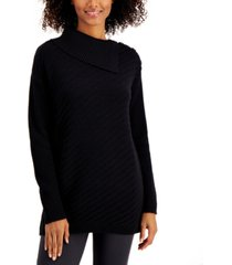 style & co ribbed button-detail tunic sweater created for macy's