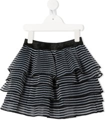 little marc jacobs micro-pleated frilled skirt - black