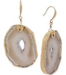 robert lee morris soho gold-tone stone sculptural circle drop earrings
