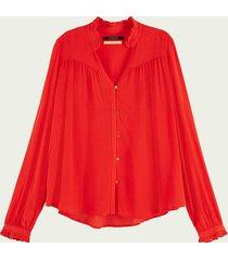scotch & soda geplooide blouse met lange mouwen