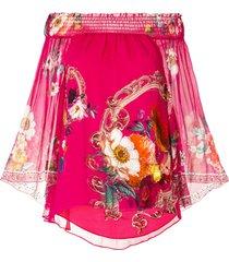 camilla off-shoulder shirred blouse - pink
