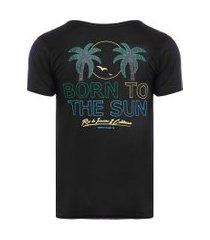 camiseta masculina born to the sun - preto