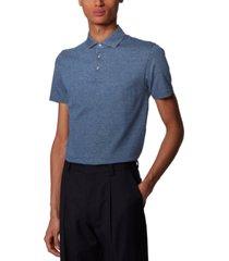 boss men's t-pryde dark blue polo shirt