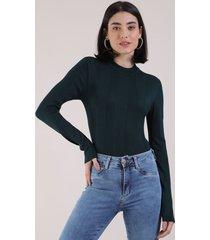 blusa feminina básica em tricô manga longa azul petróleo