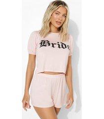 bride pyjama set met shorts en pofmouwen, blush