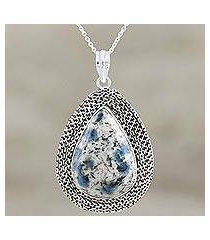 jasper pendant necklace, 'appealing charm' (india)