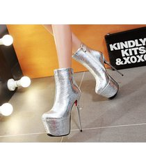 pb200 luxury 16 cm heels booties, patent leather us size 2-10.5, silver