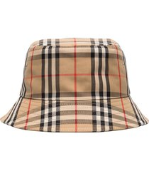 burberry vintage check bucket hat - brown