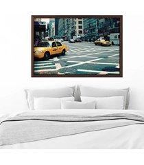 quadro love decor com moldura new york city madeira escura  grande - tricae