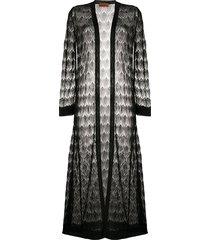 missoni decorative knit longline cardigan - black