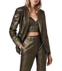 women's allsaints micah glitter one-button blazer, size 8 - metallic