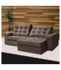 sofá retrátil e reclinável 4 lugares sued animale tva15 art estofados apolo tabaco