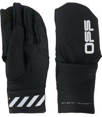 off-white logo print gloves - black