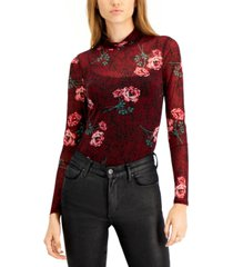bar iii printed mock-neck bodysuit, created for macy's
