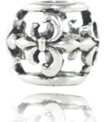 berloque  lua pratas separador flor de lis prata