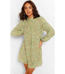 floral print smock dress, green