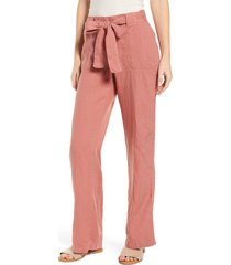 women's caslon new belted linen pants, size x-large - pink