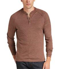 joseph abboud autumn brown henley sweater