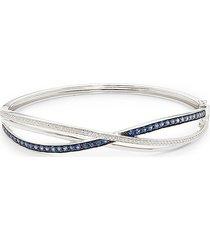 effy women's 14k white gold, sapphire & diamond infinity bracelet