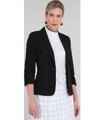 blazer feminino acinturado com bolsos manga 3/4 preto