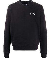 off-white logo-print crew-neck sweatshirt - black