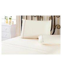 jogo de cama casal plumasul ponto palito em algodão 4 peças bege