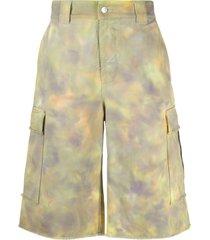 msgm tie-dye denim cargo shorts - yellow